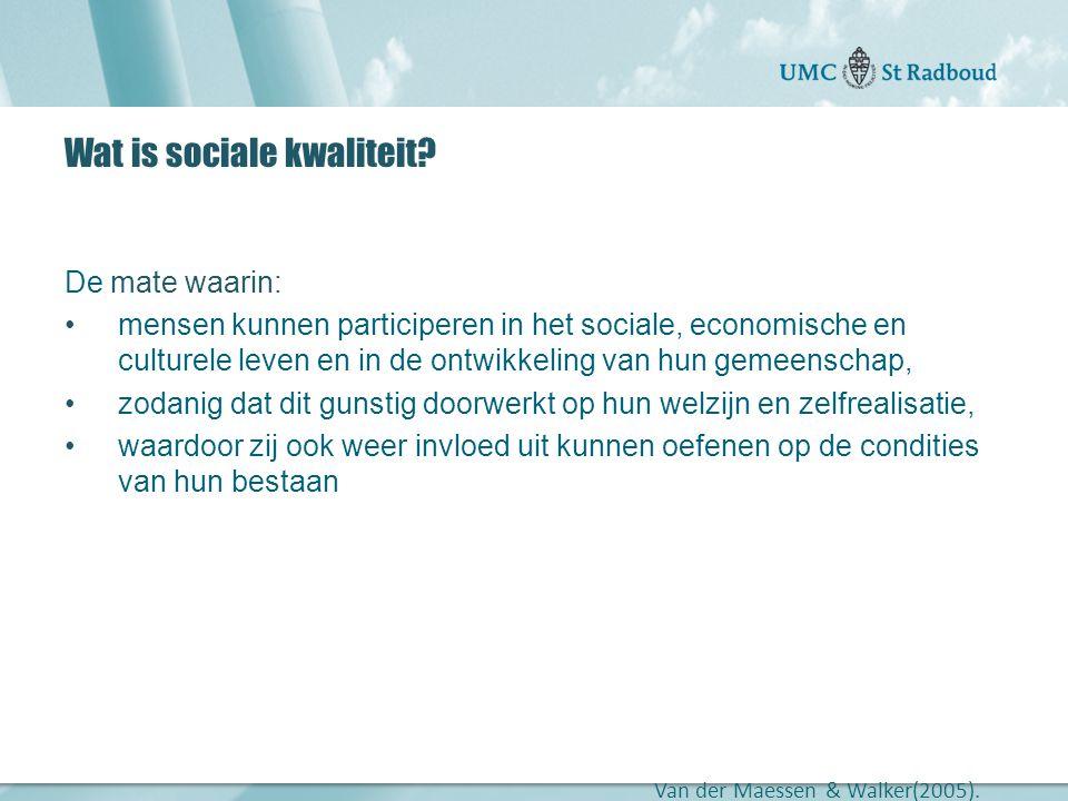 """Onderzoekscentrum maatschappelijke zorg """"gedreven door kennis, bewogen door mensen"""" Wat is sociale kwaliteit? De mate waarin: •mensen kunnen participe"""