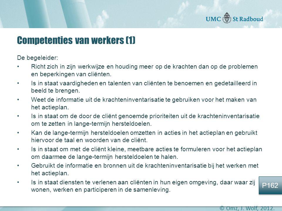 """Onderzoekscentrum maatschappelijke zorg """"gedreven door kennis, bewogen door mensen"""" Competenties van werkers (1) De begeleider: •Richt zich in zijn we"""