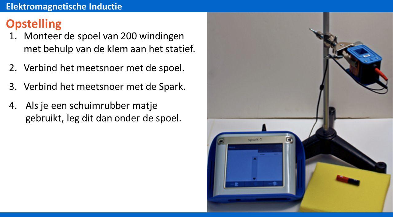 Elektromagnetische Inductie Opstelling 1.Monteer de spoel van 200 windingen met behulp van de klem aan het statief.
