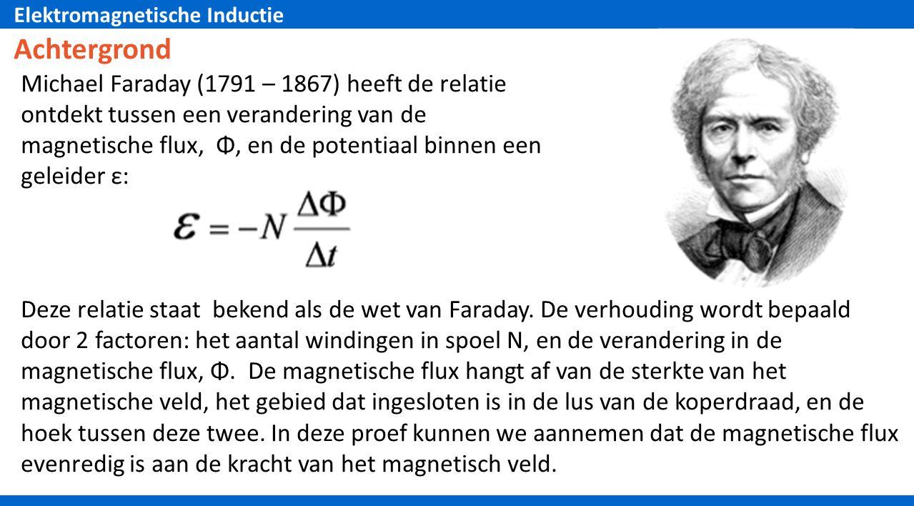 Elektromagnetische Inductie Achtergrond Deze relatie staat bekend als de wet van Faraday.
