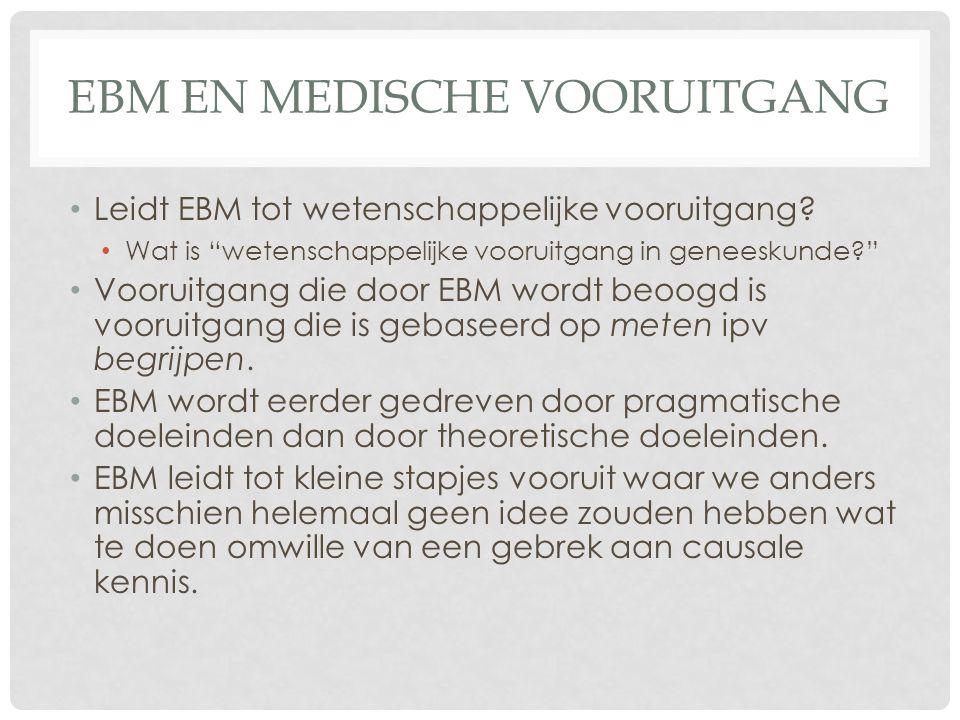 EBM EN MEDISCHE VOORUITGANG • Leidt EBM tot wetenschappelijke vooruitgang.