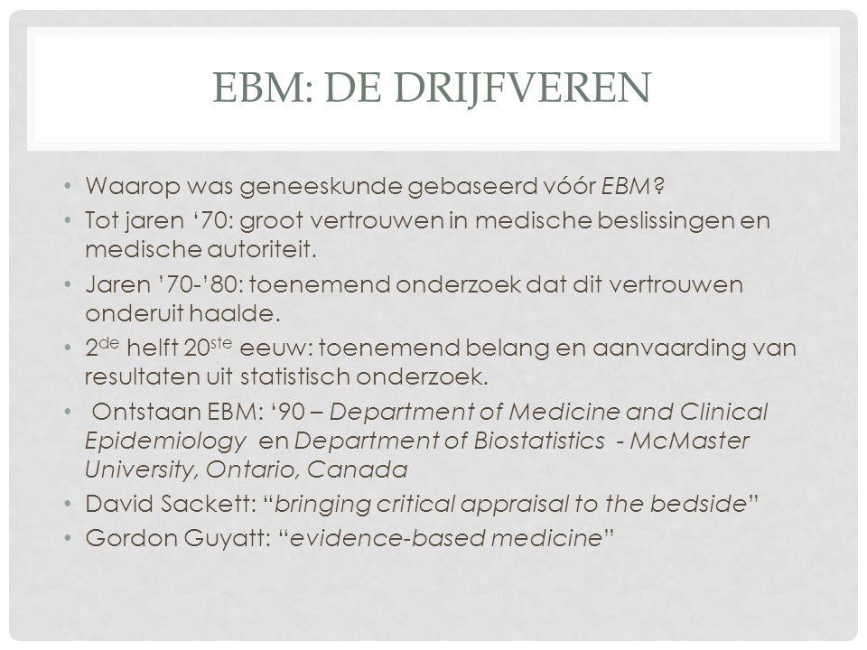 EBM: DE DRIJFVEREN • Waarop was geneeskunde gebaseerd vóór EBM.