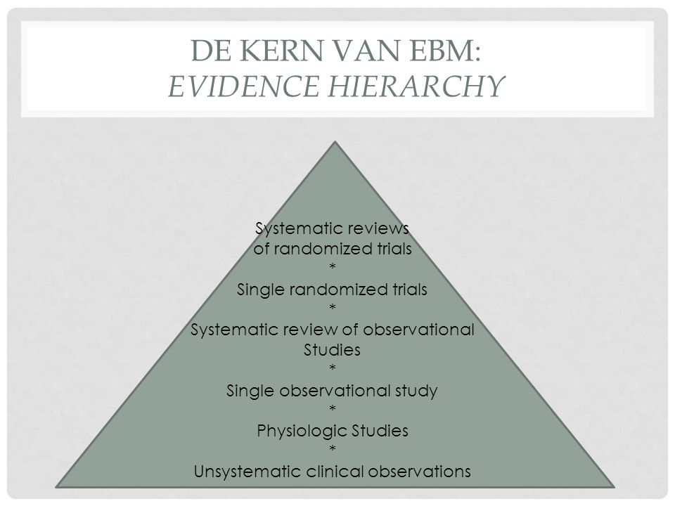 DE KERN VAN EBM: EVIDENCE HIERARCHY • Breed idee over wat evidence is, tegelijkertijd zeer eng idee over wat goede evidentie is: If the study wasn't randomised, we suggest that you stop reading it and go on to the next article in your search (Note: We can begin to rapidly critically appraise articles by scanning the abstract to determine if the study is randomised; if it isn't we can bin it.) Only if you can't find any randomised trials should you go back to it.