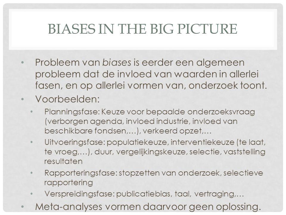 BIASES IN THE BIG PICTURE • Probleem van biases is eerder een algemeen probleem dat de invloed van waarden in allerlei fasen, en op allerlei vormen van, onderzoek toont.