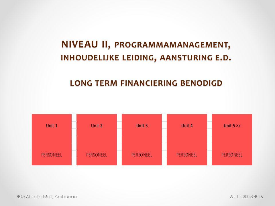 NIVEAU II, PROGRAMMAMANAGEMENT, INHOUDELIJKE LEIDING, AANSTURING E. D. LONG TERM FINANCIERING BENODIGD 25-11-201316© Alex Le Mat, Ambucon