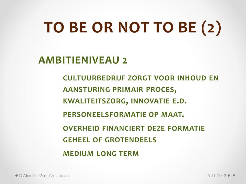 TO BE OR NOT TO BE (2) AMBITIENIVEAU 2 CULTUURBEDRIJF ZORGT VOOR INHOUD EN AANSTURING PRIMAIR PROCES, KWALITEITSZORG, INNOVATIE E.