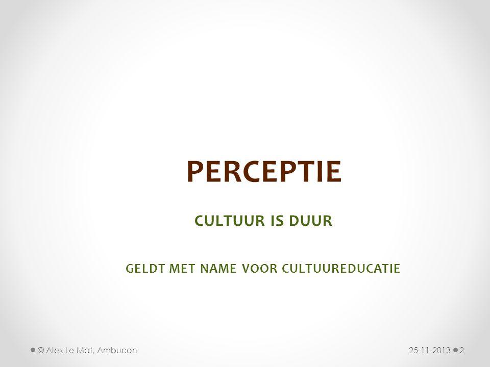 PERCEPTIE CULTUUR IS DUUR GELDT MET NAME VOOR CULTUUREDUCATIE 25-11-20132© Alex Le Mat, Ambucon