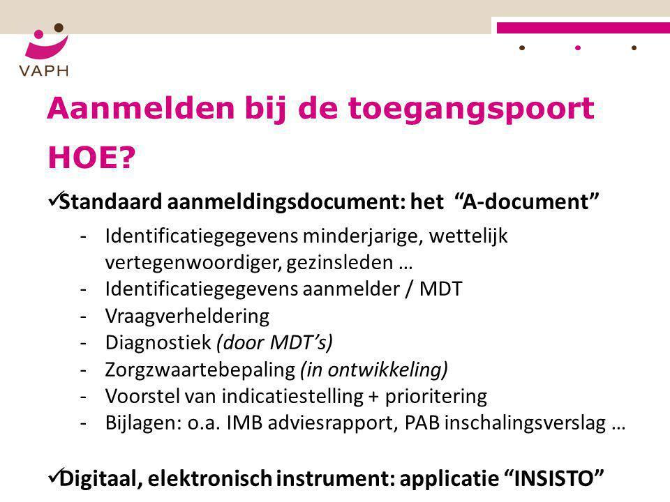 """Aanmelden bij de toegangspoort  Standaard aanmeldingsdocument: het """"A-document"""" ‐Identificatiegegevens minderjarige, wettelijk vertegenwoordiger, gez"""