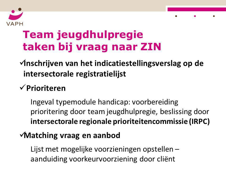  Inschrijven van het indicatiestellingsverslag op de intersectorale registratielijst  Prioriteren Ingeval typemodule handicap: voorbereiding priorit