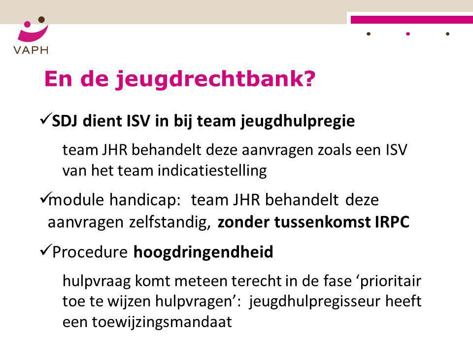 En de jeugdrechtbank?  SDJ dient ISV in bij team jeugdhulpregie team JHR behandelt deze aanvragen zoals een ISV van het team indicatiestelling  modu