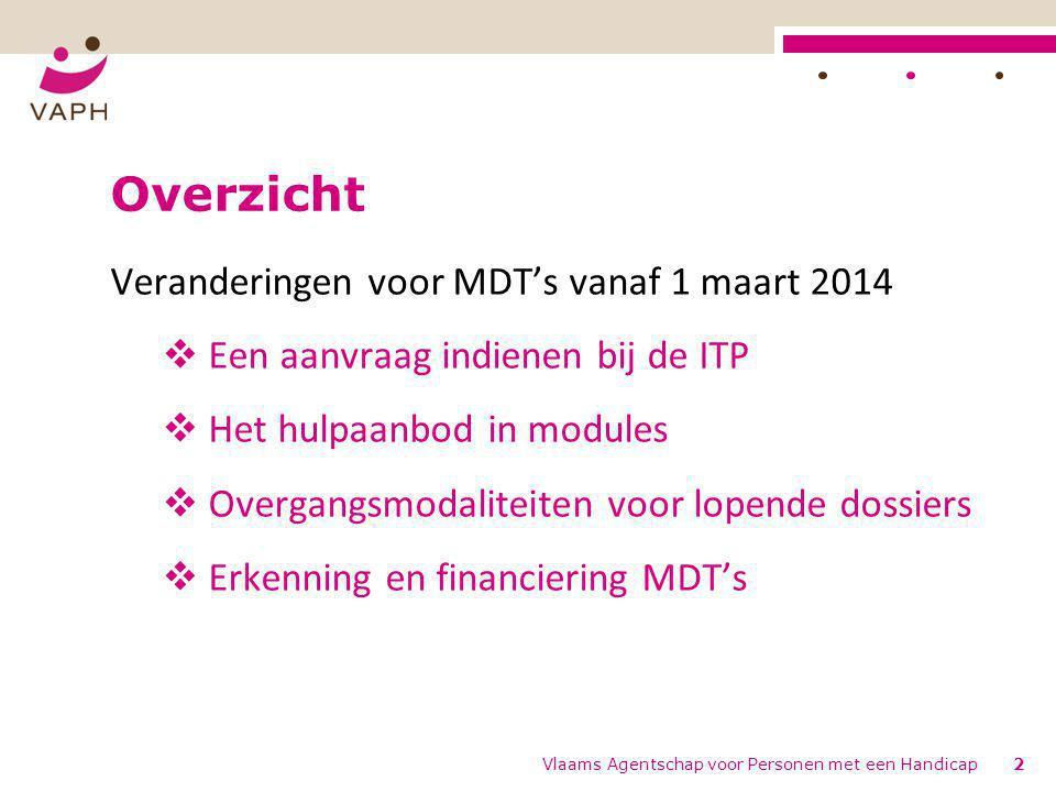 Overzicht Veranderingen voor MDT's vanaf 1 maart 2014  Een aanvraag indienen bij de ITP  Het hulpaanbod in modules  Overgangsmodaliteiten voor lope