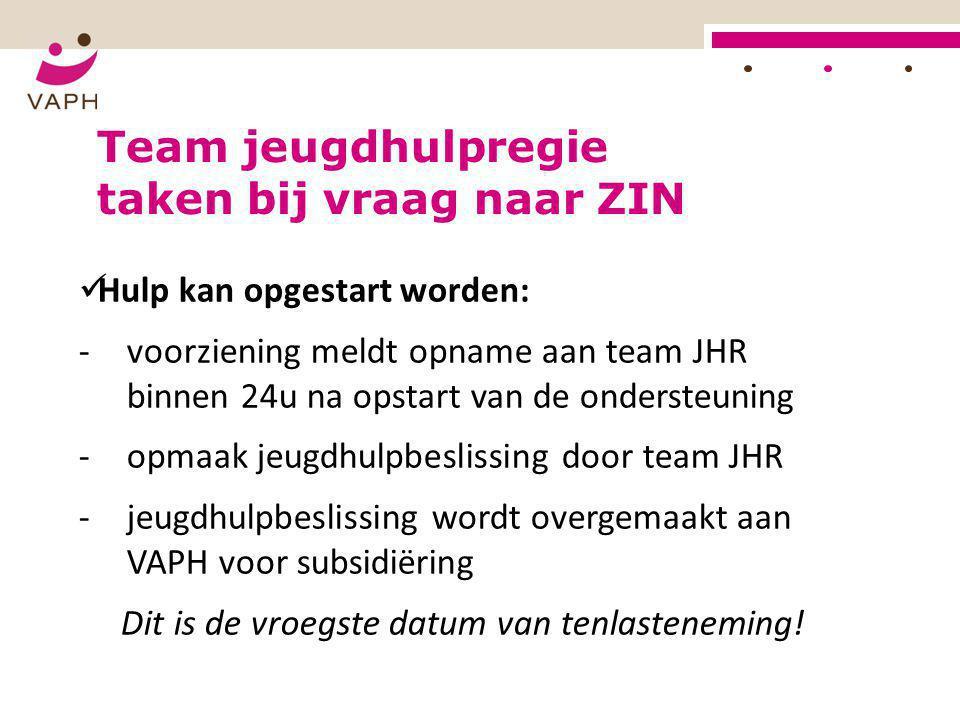  Hulp kan opgestart worden: -voorziening meldt opname aan team JHR binnen 24u na opstart van de ondersteuning -opmaak jeugdhulpbeslissing door team J