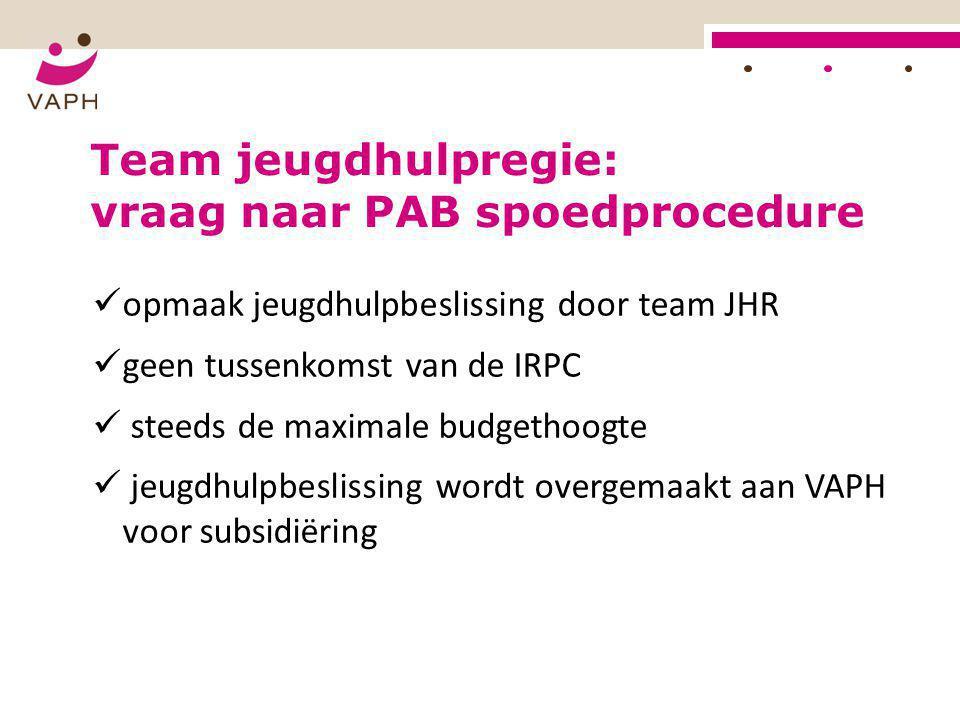  opmaak jeugdhulpbeslissing door team JHR  geen tussenkomst van de IRPC  steeds de maximale budgethoogte  jeugdhulpbeslissing wordt overgemaakt aa
