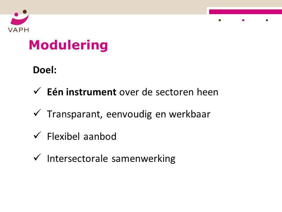 Modulering Doel:  Eén instrument over de sectoren heen  Transparant, eenvoudig en werkbaar  Flexibel aanbod  Intersectorale samenwerking