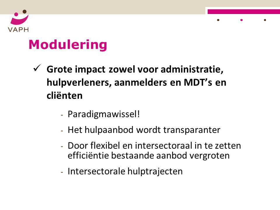 Modulering  Grote impact zowel voor administratie, hulpverleners, aanmelders en MDT's en cliënten - Paradigmawissel! - Het hulpaanbod wordt transpara