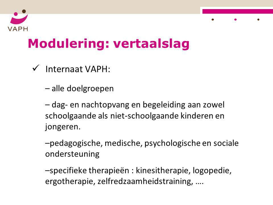Modulering: vertaalslag  Internaat VAPH: – alle doelgroepen – dag- en nachtopvang en begeleiding aan zowel schoolgaande als niet-schoolgaande kindere