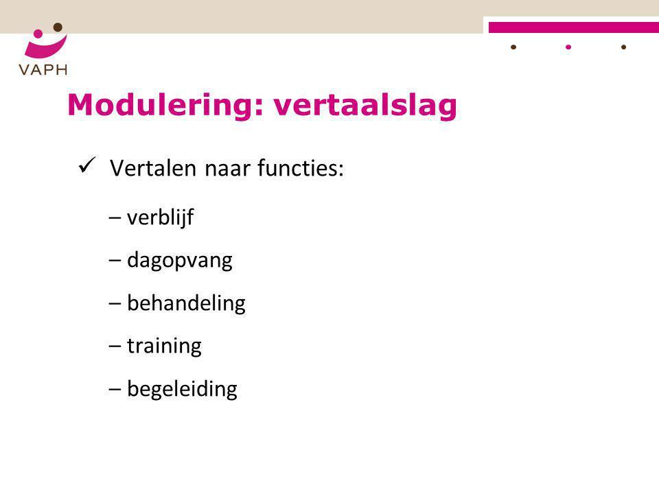 Modulering: vertaalslag  Vertalen naar functies: – verblijf – dagopvang – behandeling – training – begeleiding
