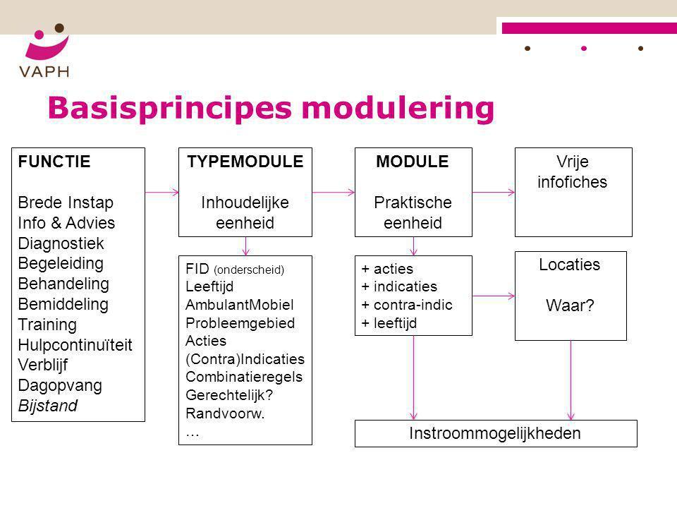 Basisprincipes modulering FUNCTIE Brede Instap Info & Advies Diagnostiek Begeleiding Behandeling Bemiddeling Training Hulpcontinuïteit Verblijf Dagopv