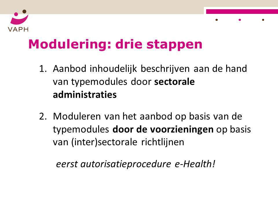 Modulering: drie stappen 1.Aanbod inhoudelijk beschrijven aan de hand van typemodules door sectorale administraties 2.Moduleren van het aanbod op basi