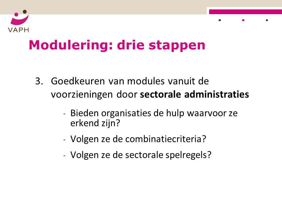 Modulering: drie stappen 3.Goedkeuren van modules vanuit de voorzieningen door sectorale administraties - Bieden organisaties de hulp waarvoor ze erke