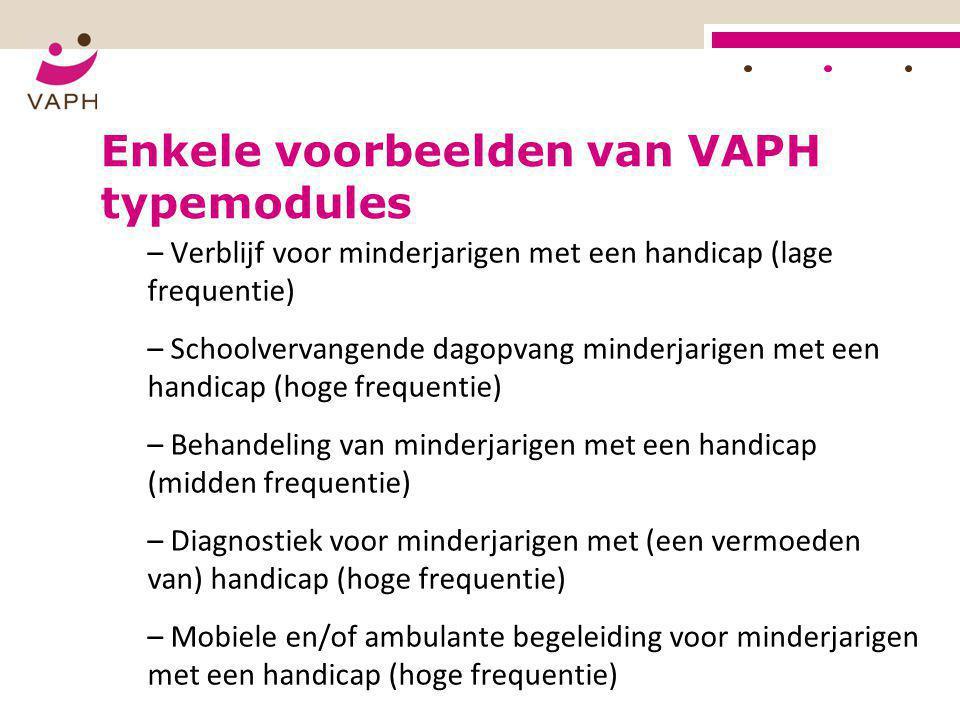 Enkele voorbeelden van VAPH typemodules – Verblijf voor minderjarigen met een handicap (lage frequentie) – Schoolvervangende dagopvang minderjarigen m