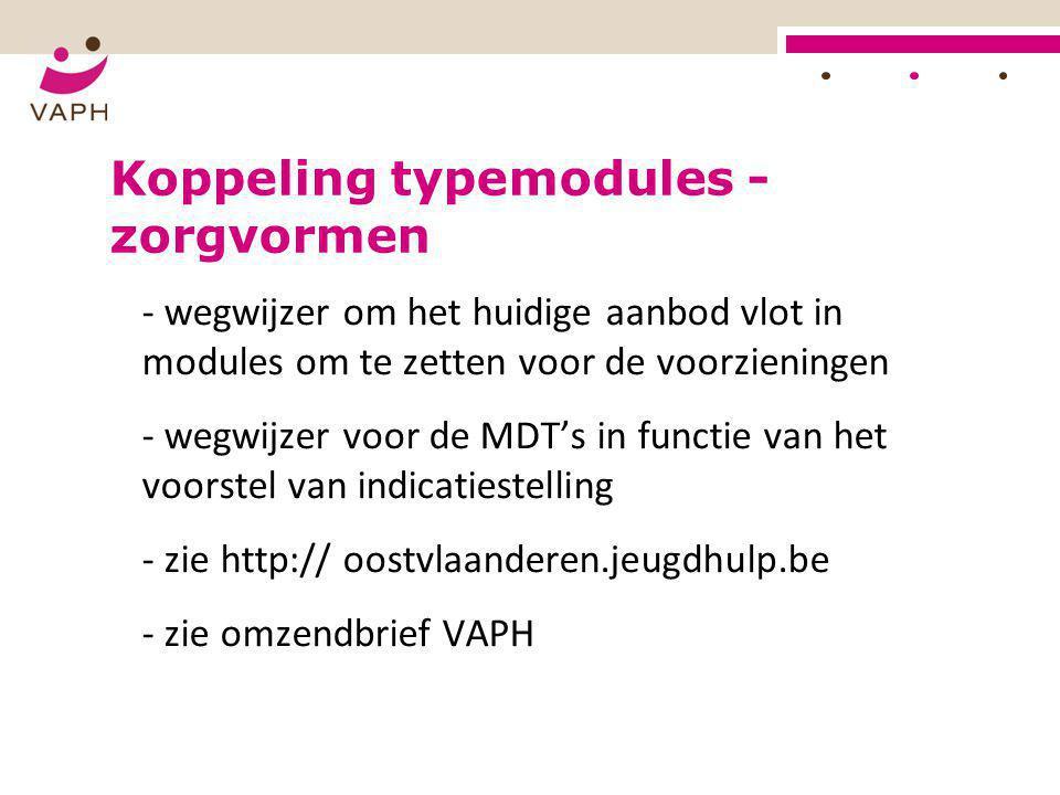 Koppeling typemodules - zorgvormen - wegwijzer om het huidige aanbod vlot in modules om te zetten voor de voorzieningen - wegwijzer voor de MDT's in f