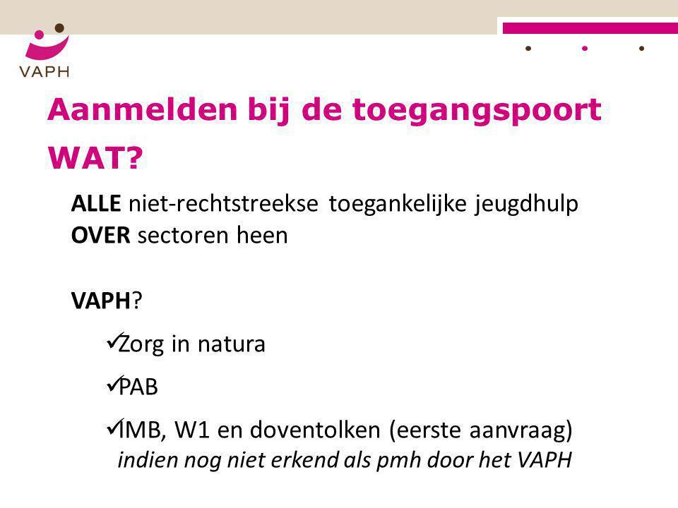 Aanmelden bij de toegangspoort ALLE niet-rechtstreekse toegankelijke jeugdhulp OVER sectoren heen VAPH?  Zorg in natura  PAB  IMB, W1 en doventolke