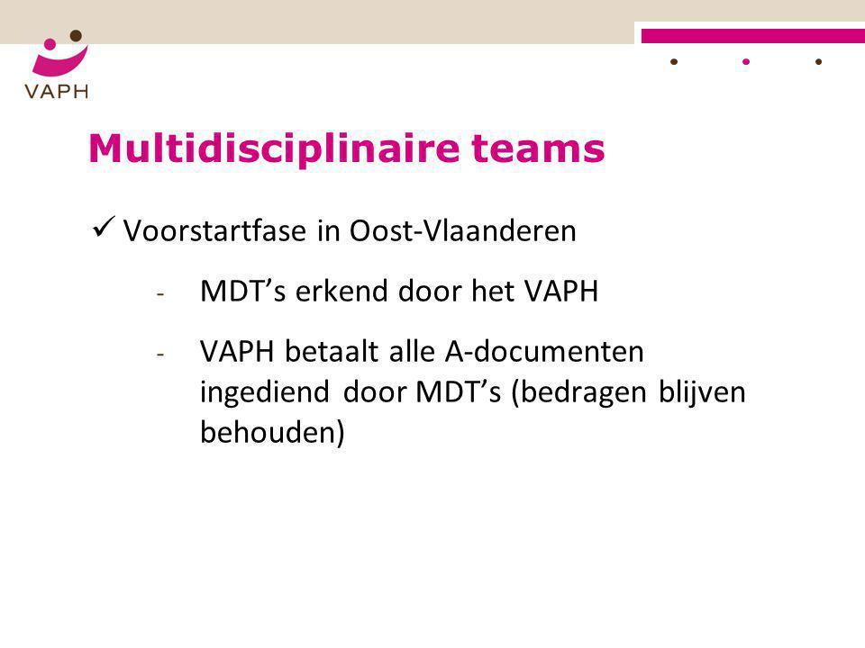  Voorstartfase in Oost-Vlaanderen - MDT's erkend door het VAPH - VAPH betaalt alle A-documenten ingediend door MDT's (bedragen blijven behouden)