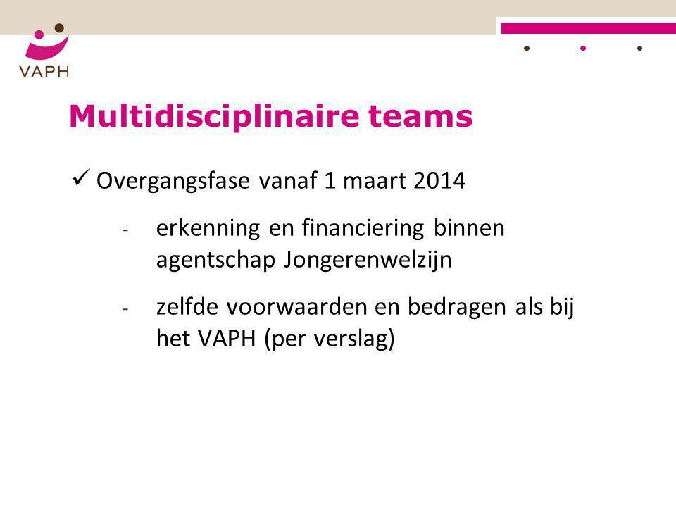 Multidisciplinaire teams  Overgangsfase vanaf 1 maart 2014 - erkenning en financiering binnen agentschap Jongerenwelzijn - zelfde voorwaarden en bedr