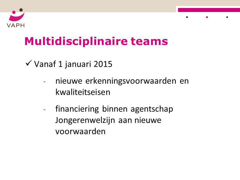 Multidisciplinaire teams  Vanaf 1 januari 2015 - nieuwe erkenningsvoorwaarden en kwaliteitseisen - financiering binnen agentschap Jongerenwelzijn aan