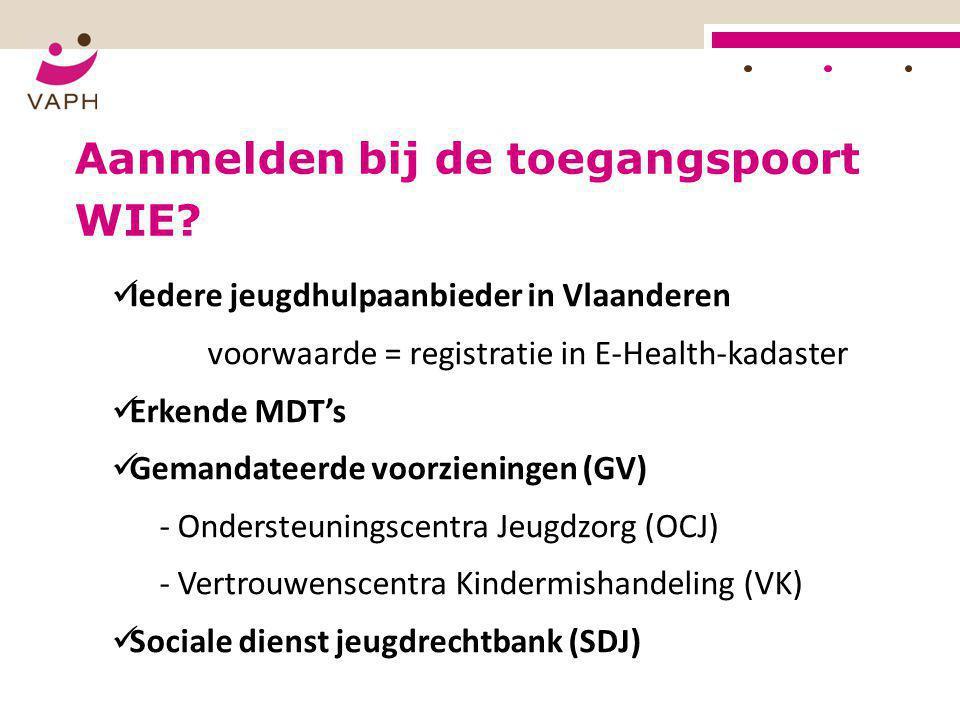 WIE?  Iedere jeugdhulpaanbieder in Vlaanderen voorwaarde = registratie in E-Health-kadaster  Erkende MDT's  Gemandateerde voorzieningen (GV) - Onde