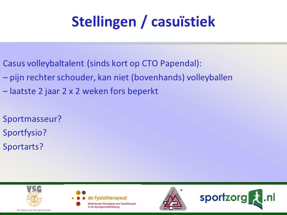 Stellingen / casuïstiek Casus volleybaltalent (sinds kort op CTO Papendal): – pijn rechter schouder, kan niet (bovenhands) volleyballen – laatste 2 ja