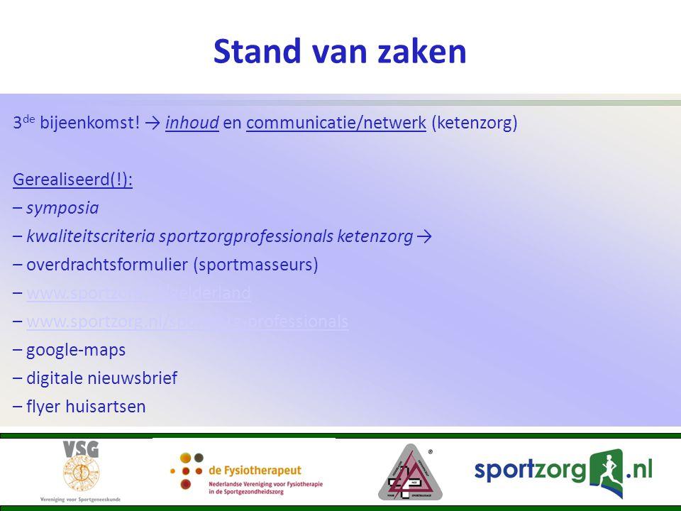 Stand van zaken 3 de bijeenkomst! → inhoud en communicatie/netwerk (ketenzorg) Gerealiseerd(!): – symposia – kwaliteitscriteria sportzorgprofessionals