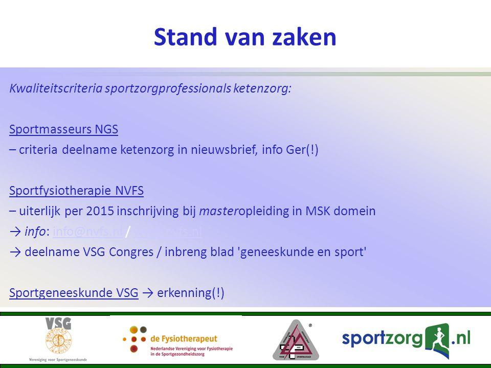 Stand van zaken Kwaliteitscriteria sportzorgprofessionals ketenzorg: Sportmasseurs NGS – criteria deelname ketenzorg in nieuwsbrief, info Ger(!) Sport