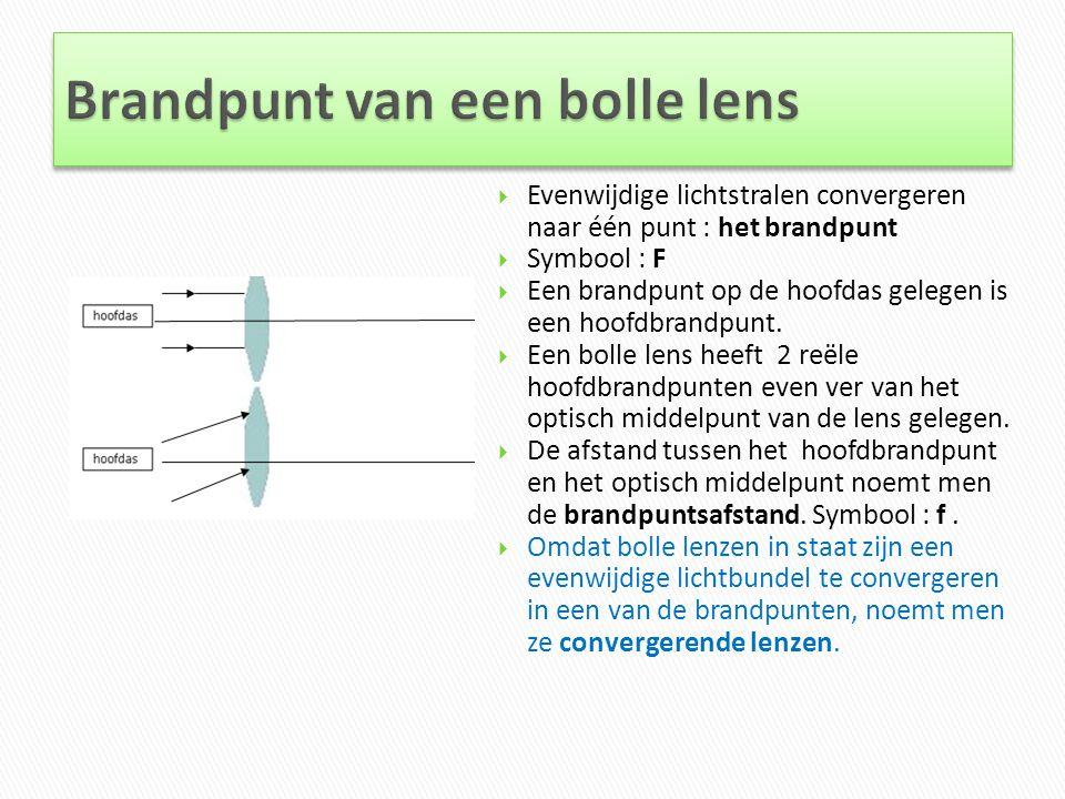  Evenwijdige lichtstralen convergeren naar één punt : het brandpunt  Symbool : F  Een brandpunt op de hoofdas gelegen is een hoofdbrandpunt.