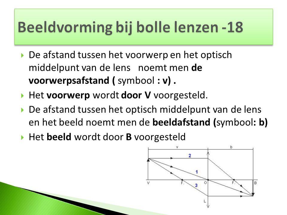  De afstand tussen het voorwerp en het optisch middelpunt van de lens noemt men de voorwerpsafstand ( symbool : v).