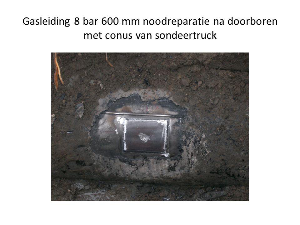 Gasleiding 8 bar 600 mm noodreparatie na doorboren met conus van sondeertruck