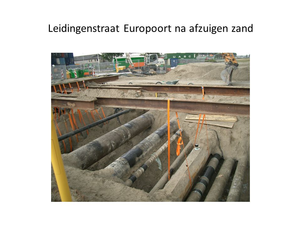 Leidingenstraat Europoort na afzuigen zand