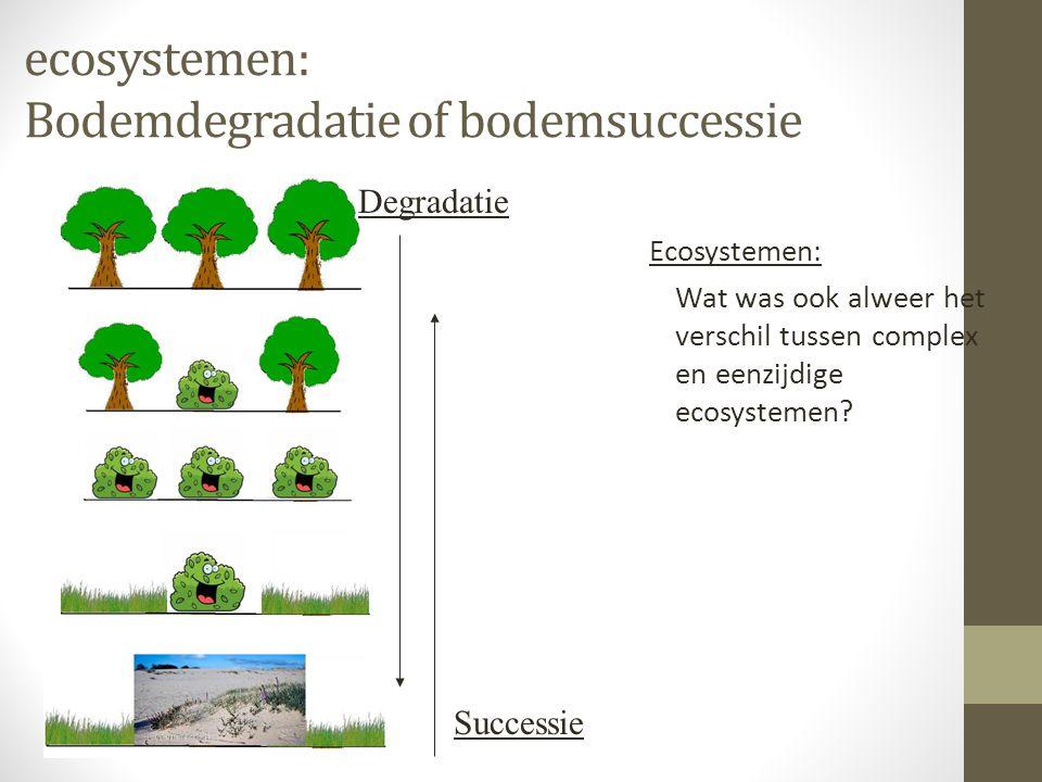 ecosystemen: Bodemdegradatie of bodemsuccessie Ecosystemen: Wat was ook alweer het verschil tussen complex en eenzijdige ecosystemen? Successie Degrad