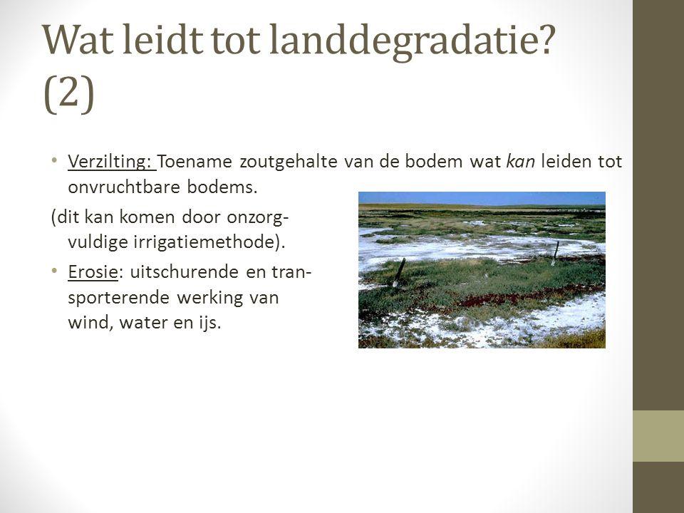 Wat leidt tot landdegradatie? (2) • Verzilting: Toename zoutgehalte van de bodem wat kan leiden tot onvruchtbare bodems. (dit kan komen door onzorg- v