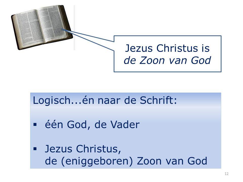 Jezus Christus is de Zoon van God Logisch...én naar de Schrift:  één God, de Vader  Jezus Christus, de (eniggeboren) Zoon van God 12
