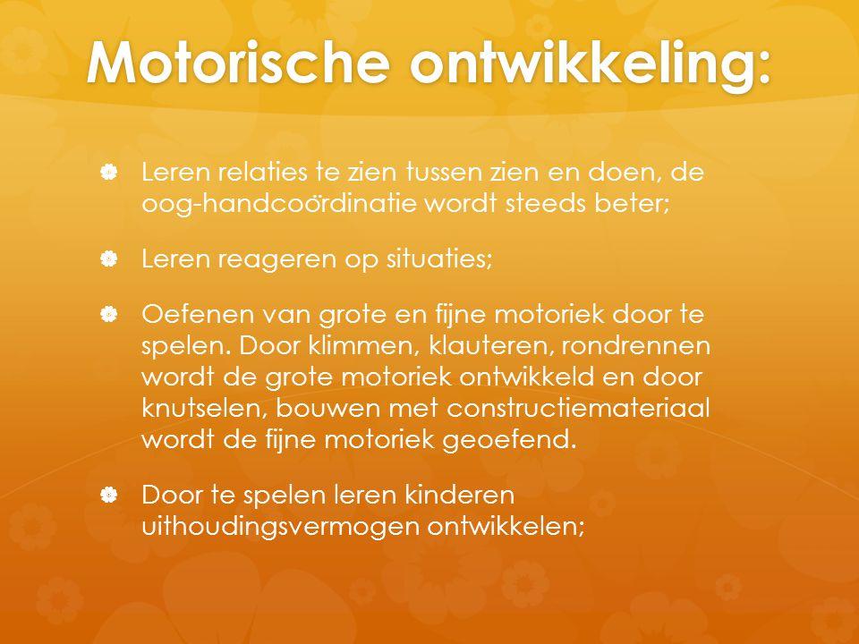 Motorische ontwikkeling:   Leren relaties te zien tussen zien en doen, de oog-handcoo ̈ rdinatie wordt steeds beter;   Leren reageren op situaties