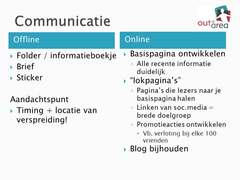 Offline Online  Folder / informatieboekje  Brief  Sticker Aandachtspunt  Timing + locatie van verspreiding!  Basispagina ontwikkelen ◦ Alle recen