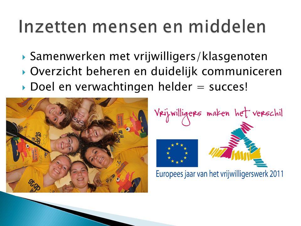  Samenwerken met vrijwilligers/klasgenoten  Overzicht beheren en duidelijk communiceren  Doel en verwachtingen helder = succes!