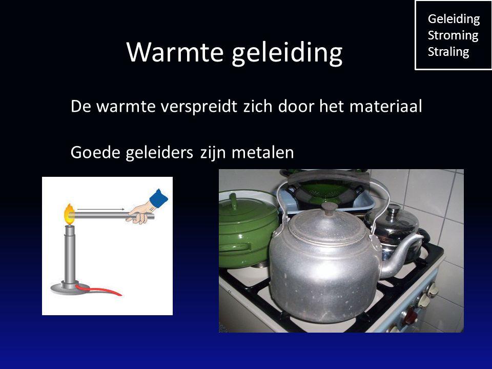 Warmte geleiding Geleiding Stroming Straling De warmte verspreidt zich door het materiaal Goede geleiders zijn metalen