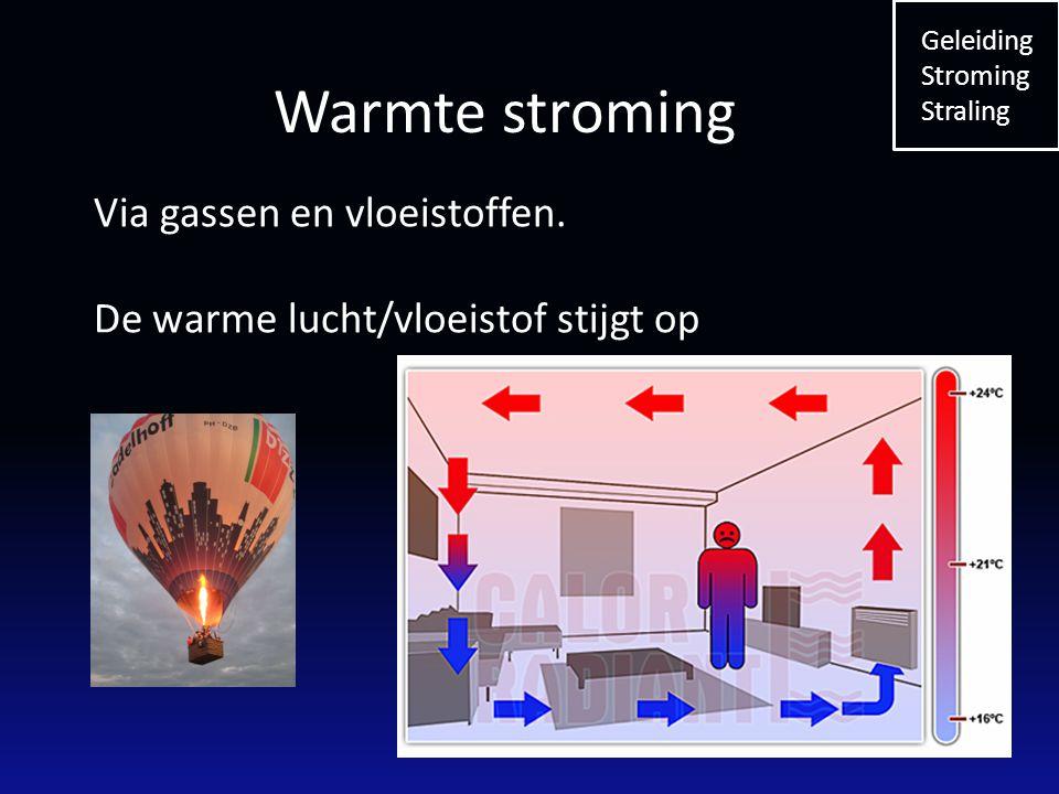 Via gassen en vloeistoffen. De warme lucht/vloeistof stijgt op Geleiding Stroming Straling Warmte stroming