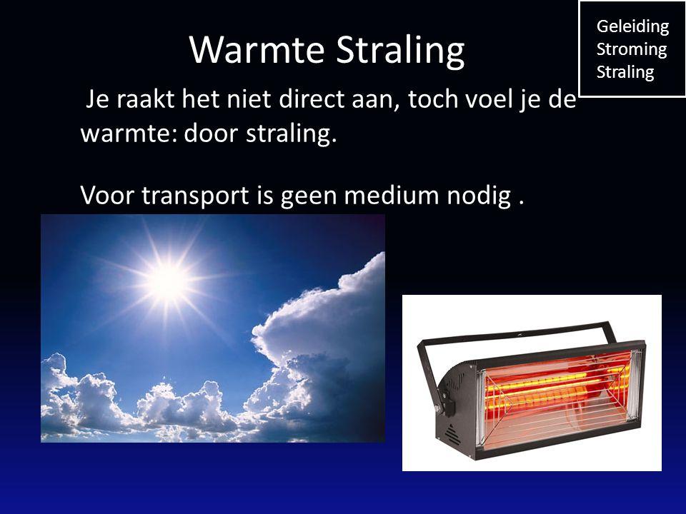 Je raakt het niet direct aan, toch voel je de warmte: door straling. Voor transport is geen medium nodig. Geleiding Stroming Straling Warmte Straling