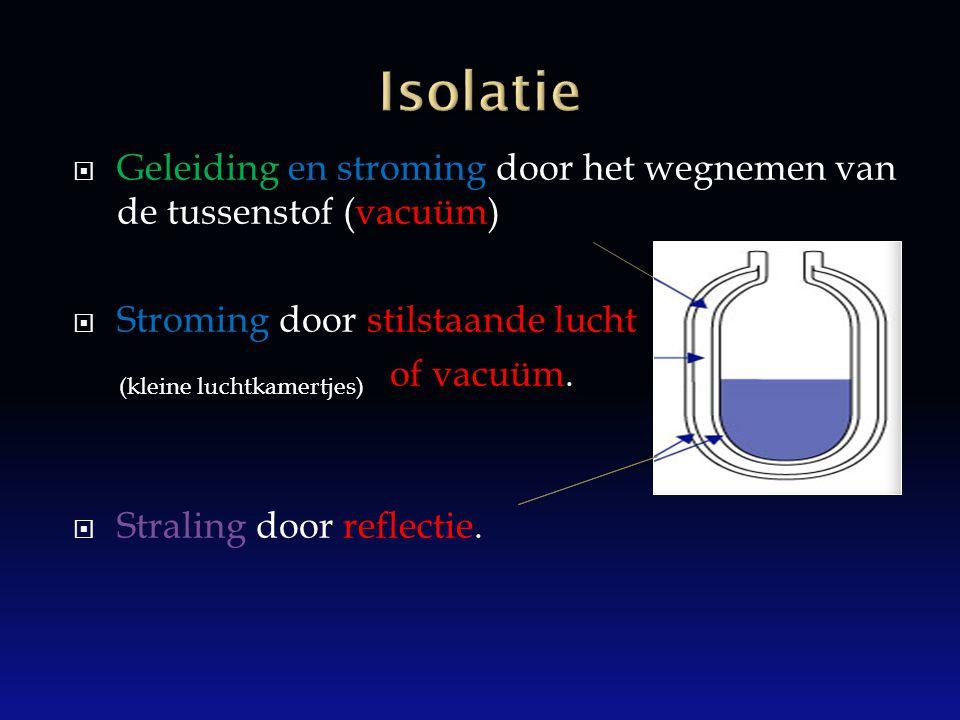  Geleiding en stroming door het wegnemen van de tussenstof (vacuüm)  Stroming door stilstaande lucht of vacuüm.  Straling door reflectie. (kleine l