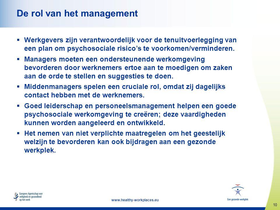 10 www.healthy-workplaces.eu De rol van het management  Werkgevers zijn verantwoordelijk voor de tenuitvoerlegging van een plan om psychosociale risi