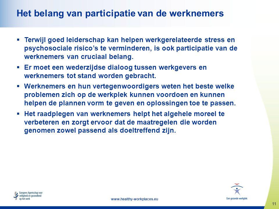 11 www.healthy-workplaces.eu Het belang van participatie van de werknemers  Terwijl goed leiderschap kan helpen werkgerelateerde stress en psychosoci